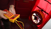 Blower Door Testing on Net-zero Toronto Semi-detached Retrofit